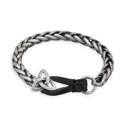 """A masculine Irish jewelry item to add a new style to your days. This bracelet features a snake link chain and clasps with a Trinity Knot Symbol. The Trinity Knot symbolizes the Father, Son and Holy Spirit, or the Holy Trinity. This Trinity Knot bracelet measures approximately 9 2/5"""" in length and is made from metal alloy or pewter. This stunning bracelet is made in Dublin, Ireland"""