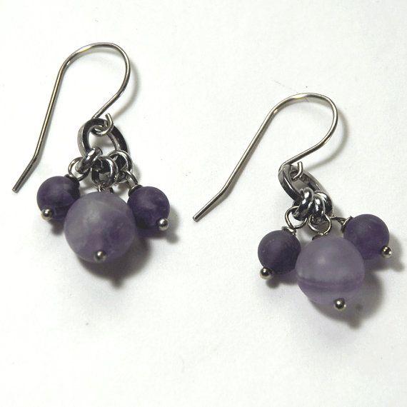 Amethyst cluster earrings on stainless steel earwire