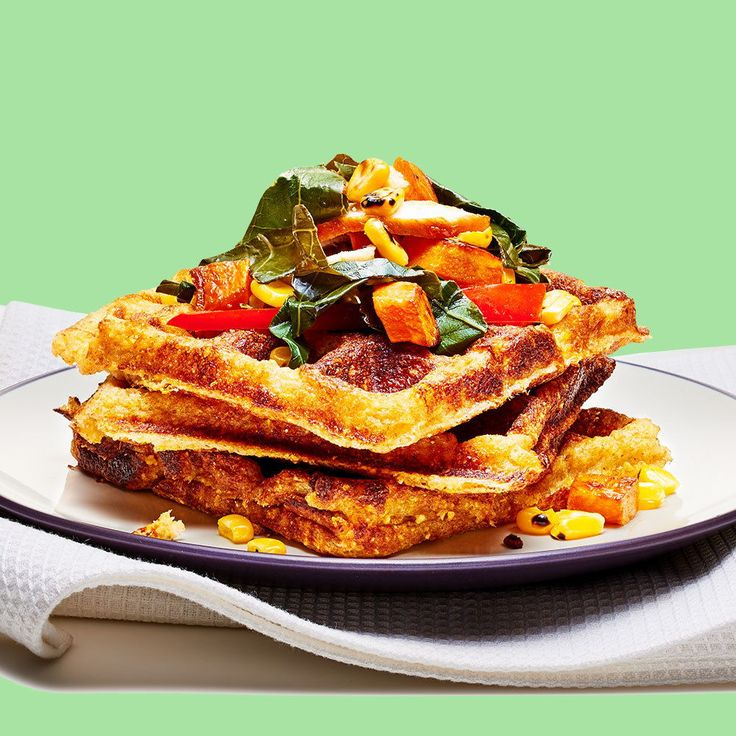 Top a cornbread waffle with veggies and cheese, and you have a healthy dish worthy of any mealtime.