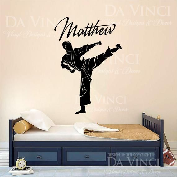Custom Vinyl Decal Stickers for Bedrooms Martial Arts with Personalized Name
