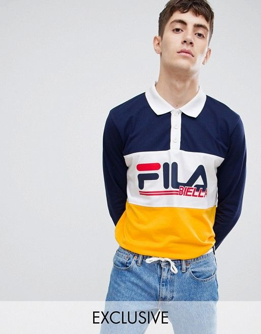 Fila long sleeve rugby polo shirt with retro panel logo in navy ... 62129ec1e3d