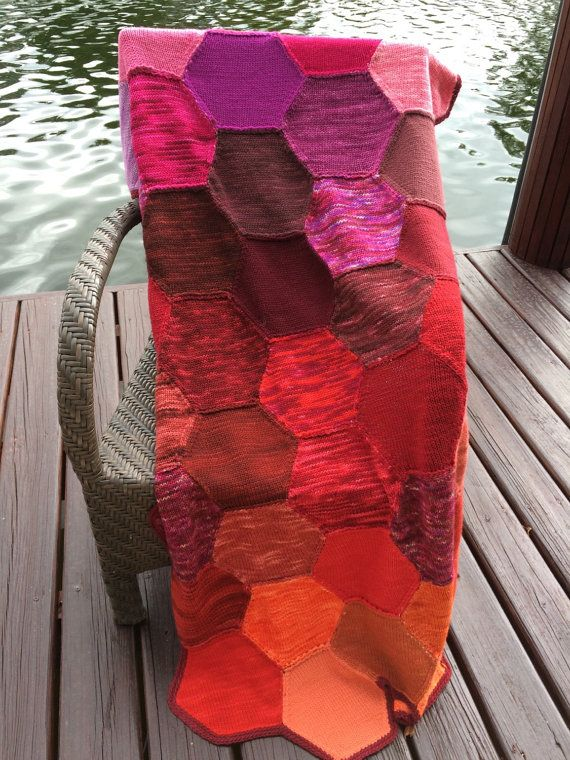 Knitted Quilt with warm colors by evelynWpolitzerKnits on Etsy