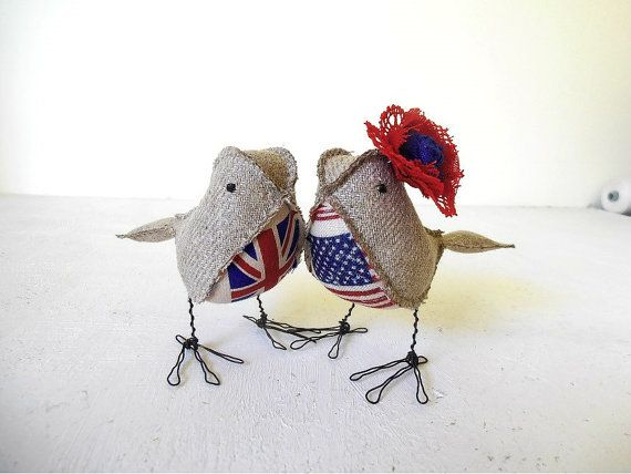 Wedding Cake Topper UK US Love Birds Soft by 5lovebirdsnest