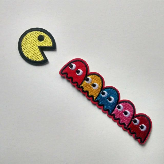 Embroidered Pacman Ghost Game Hotfix Iron On Patch Applique Gift Toys
