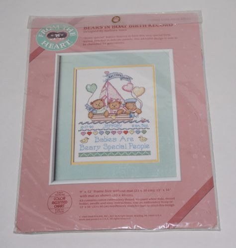 Dimensions-From-the-Heart-Bears-Boat-Birth-Record-Counted-Cross-Stitch-Kit-NEW