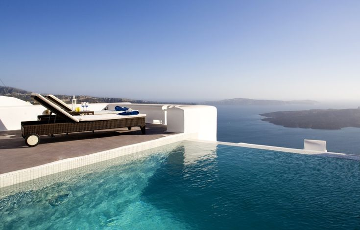 Hotels & Resorts, Beautifully Awesome Luxury Boutique Grace Hotel, Santorini Islands, Greece: Grace Santorini Hotel Outdoor Infinity Pool With Deck And Seating