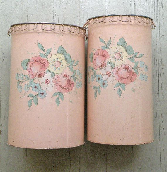 2 matching Holly House Tole waste baskets. Adorable metal trim at the top. See photos for wear and condition. ( one has very little wear, the