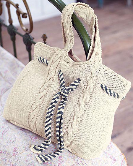 zoom sac marin à torsades à tricoter, explications gratuites sur ABCfeminin.com