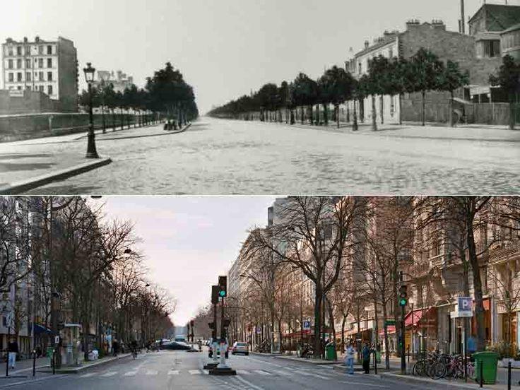 Le boulevard Arago photographié par Marville en 1867. Trois ans après son percement, cette artère n'était pas encore très lotie malgré les grands emprunts lancés par  l'Etat. Dans des quartiers plus chics, la spéculation battait alors son plein.
