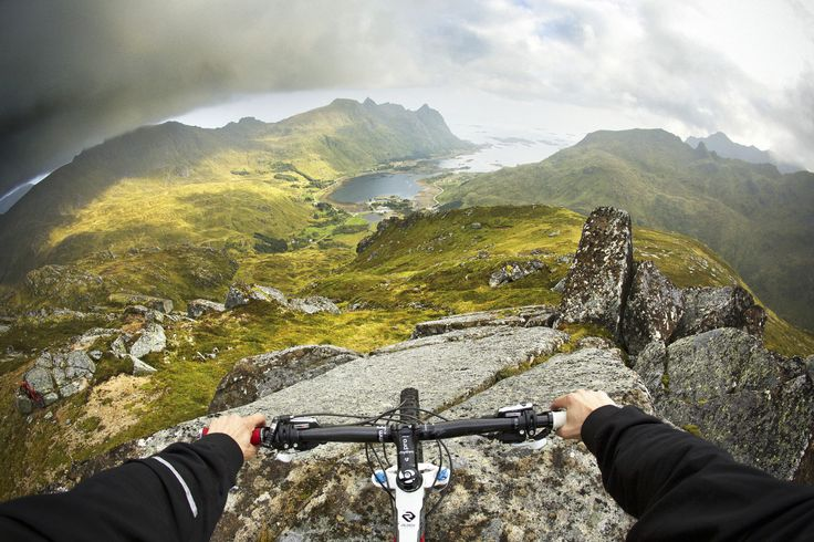 Photographer Frode Sandbech captures a view that mountain bike dreams are made of from high above a fjord on Norway's Lofoten archipelago during a riding trip to the remote region. With miles of pristine riding all the way down to the sea below, a good day's riding was guaranteed.
