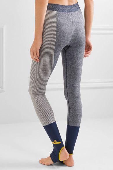 Adidas by Stella McCartney - Paneled Climalite Stretch-jersey Leggings - Navy - medium