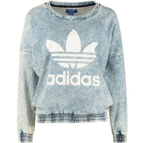 adidas Originals Sweatshirt blau (175 BRL) ❤ liked on Polyvore featuring tops, hoodies, sweatshirts, sweaters, shirts, blue sweatshirt, sleeve shirt, cotton collared shirt, collar top and adidas originals shirt