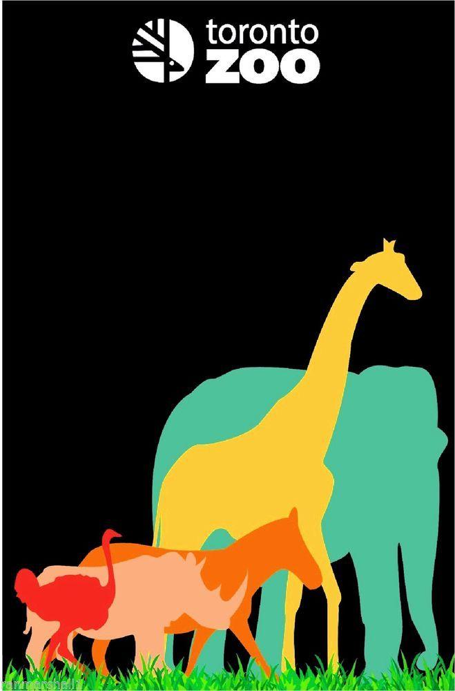 Metro Toronto Zoo Elephant Giraffe Canadian Advertisement Travel Art Poster Toronto Ontario Canada.