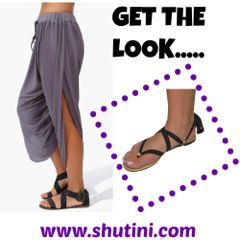 LOVING this look right now! Harem pants and Shutini sandals #shutini #shoponline #haremstyle #blackstrap #cute #perfecttraveloutfit