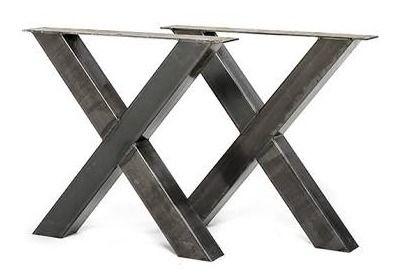 Industrieel stalen kruis X onderstel koker 10x10cm Voorraad artikel set prijs (25520161637STRIP)