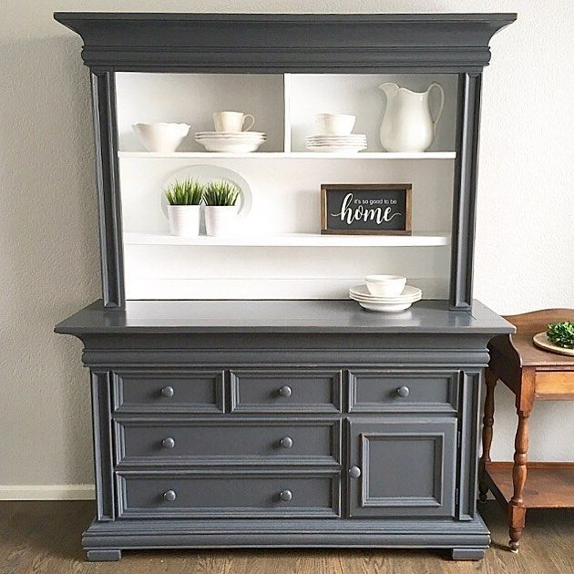 """Sometimes I hope a client never comes to pick up their finished furniture. *sigh* But they always do. ;) I love how this one turned out! This is painted in Queenstown Gray and Snow White Milk Paint, both by General Finishes."" - The Painted Piano #furnitureredo"