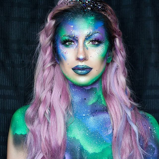 WEBSTA @ jessikapetten - Northern Lights Mermaid  I have to thank @filthylucre89 for this suggestion--inspired by the Northern Lights. (Which I've yet to see in person, which is maybe sad since I live in Canada, but it's on my list). •••@katvondbeauty Lock-it foundation, concealer