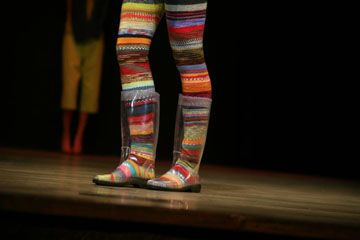 Cool see-thru rainboots! How else to show off your beautiful hand-knit socks?