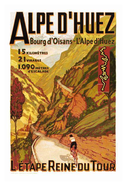 Alpe d'Huez L'etape Reine de Tour Travel Poster by WallArty