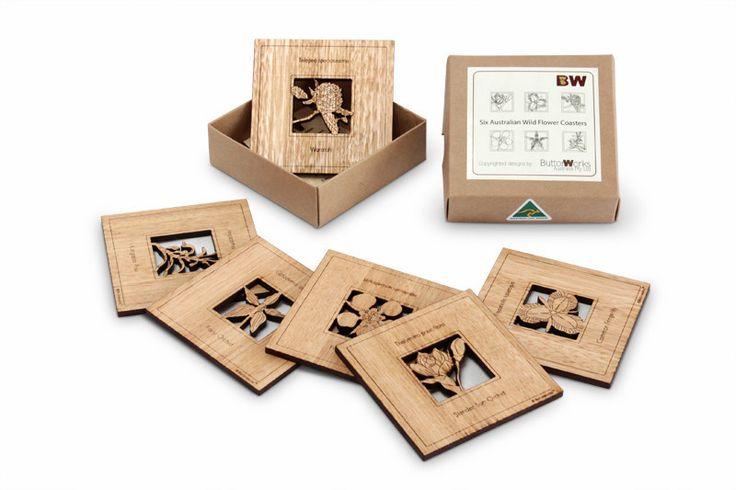 Australian Wildflower Coasters | Australian Woodwork || Sustainable Wood Products: www.australianwoodwork.com.au