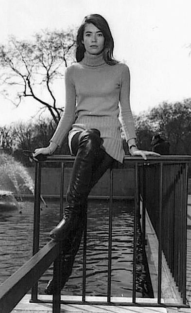 Françoise Hardy wearing knee-high boots in London, 1968