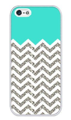 Chevron Pattern Turquoise Grey White Mixed RUBBER iphone 5 case (NOT ACTUAL GLITTER) - Fits iphone 5 T-Mobile, AT, Sprint, Verizon and International:Amazon:Cell Phones & Accessories