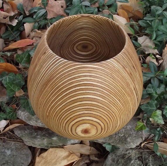 Wood Bowl Large  HOLIDAY SALE  Beautiful Layers by sunsetturnings, $65.00