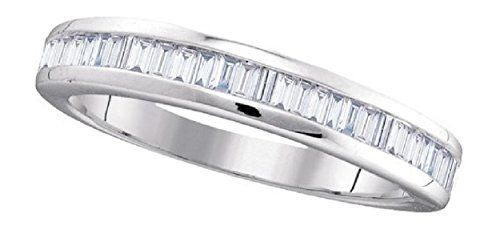 0.5 cttw 10k White Gold Baguette Cut Diamond Wedding Anniversary Band 3.5mm (FREE SIZING) ** Additional info @