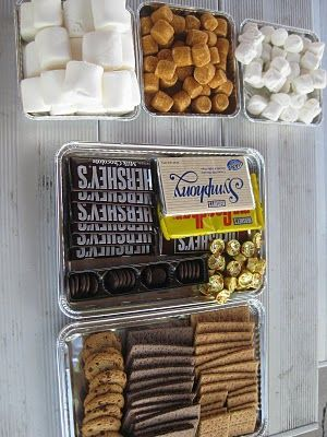 Smore Bar: 3 different types of marshmallows (huge ones, normal ones, & coconut ones) 3 different crackers (chocolate, cinnamon, & cookies) & all manner of chocolates (milk, dark, with peanuts, mint, with toffee, & reeses cups)