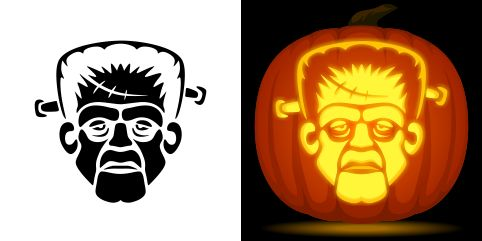 Frankenstein pumpkin carving stencil. Free PDF pattern to download and print at http://pumpkinstencils.org/download/frankenstein-pumpkin-stencil/