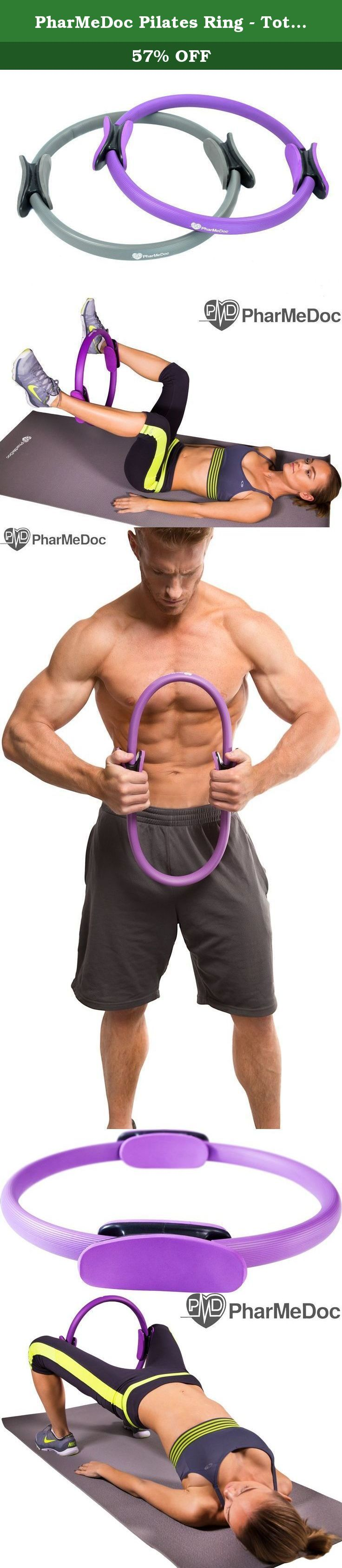 """PharMeDoc Pilates Ring - Total Body Gym - #1 Exercise Fitness Circle to Burn Belly Fat & Toning of Abs, Legs, Arms, Thighs - Resistance Band - Dual Grip Handles - 15"""" - Purple. Light yet Durable Glass Fiber Composite Ring • Sturdy Materials protected by a strong plastic coating and covered by an ultra-soft and breathable EVA foam cover to handle all levels of use • Engineered build designed to last without snapping or losing resistance over extended periods of exercise, allowing you to…"""