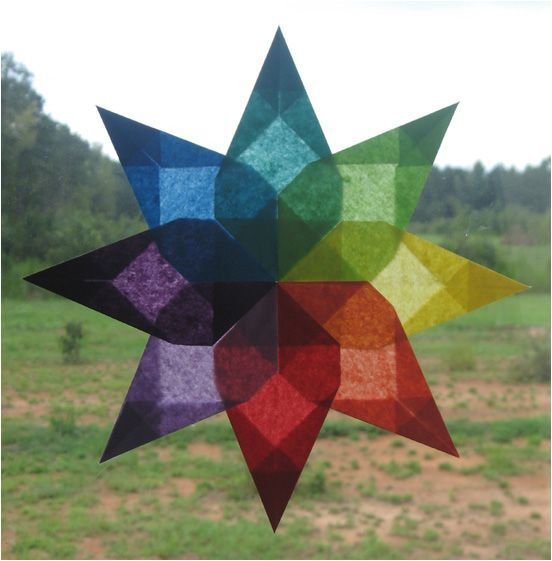 Waldorf window stars out of tissue paper