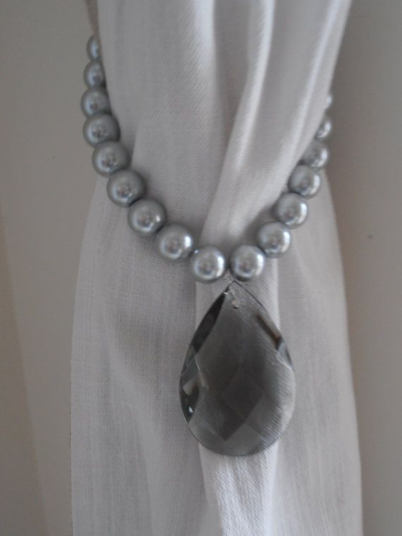 SET OF 2 decorative curtain tiebacks grey by MilanChicChandeliers