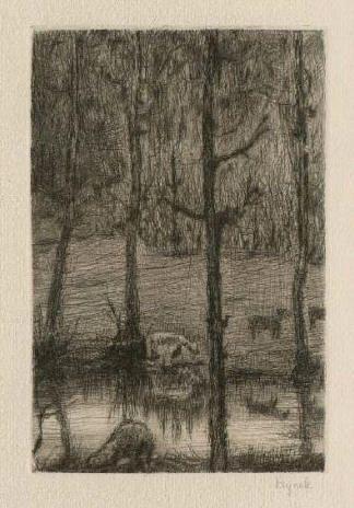 Bohuslav Reynek Pastorale I / Pastoral I suchá jehla / dry point 12,2 x 8 cm, 1942-47, opus G 163