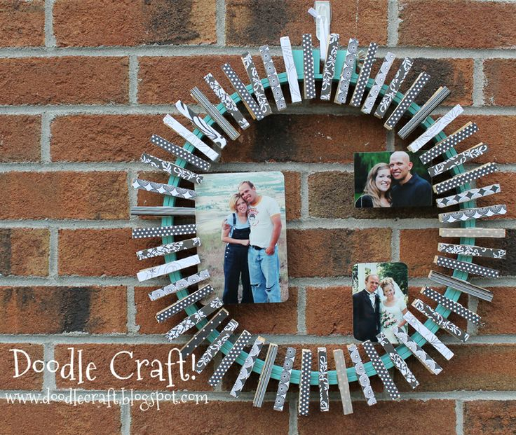 Clothespin picture frame!  Stick scrapbooking paper on clothespin and glue them to a painted embroidery ring! Simple but cute!