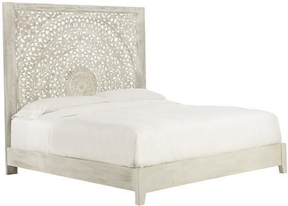 Chennai Queen Hand-Carved Bed - Whitewash