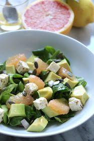 The Cook Time: Salade de mâche aux avocats, pamplemousse et feta, vinaigrette aux agrumes