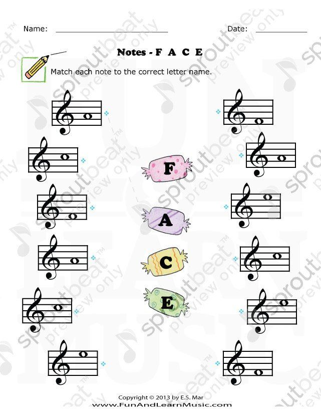 Treble Clef Notes Worksheet Treble Clef F A C E in 2020