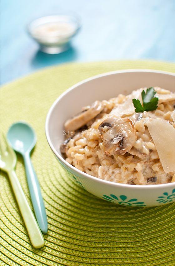 Blésotto, risotto de blé aux champignons et parmesan frais