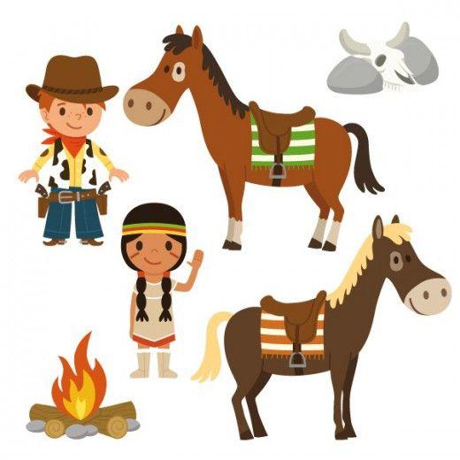 sticker enfant : frise cowboys et indiens