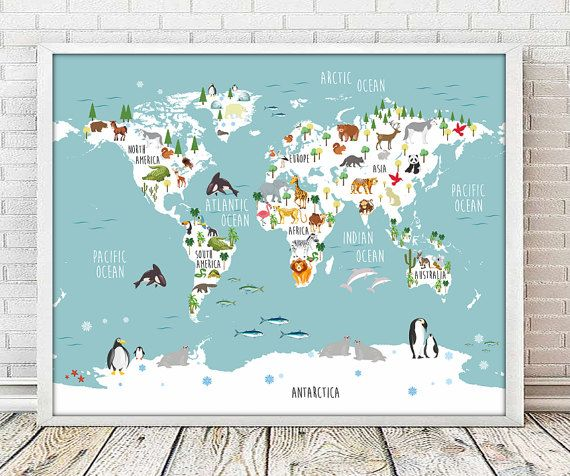 world map nursery, nursery animal, nursery print, nursery decor, mapamundi, nursery map, nursery mapamundi, animal print, map prints