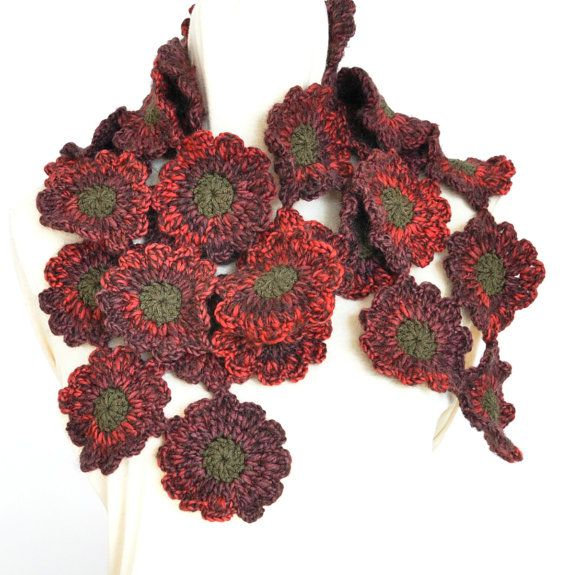Floral vakantie  Red  gehaakte bloem Redshade sjaal door jennysunny