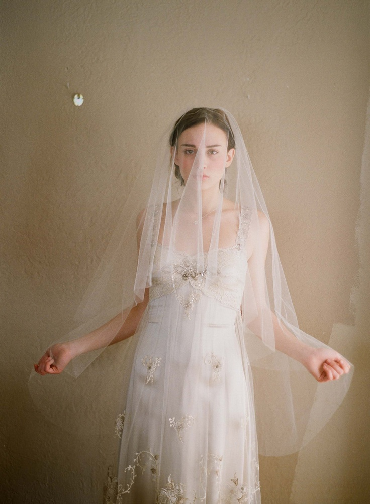 Fingertip veil, bridal sheer veil - Simple and sheer single layer long veil - Twigs & Honey via Etsy. like the sheerness, lil shorter with front cut off