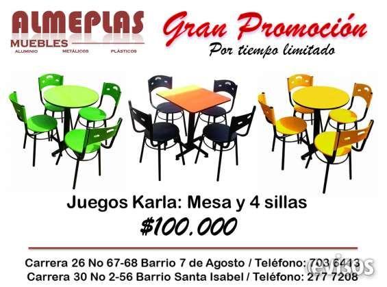 Juegos KARLA mesa y 4 sillas precio único de fabrica Juegos KARLA mesa estructura metálica con niveladores en  .. http://bogota-city.evisos.com.co/juegos-karla-mesa-y-4-sillas-precio-unico-de-fabrica-id-464777