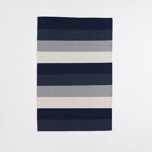 Stripestep Cotton Dhurrie Rug - Midnight   West Elm - 6x9 on sale for $70