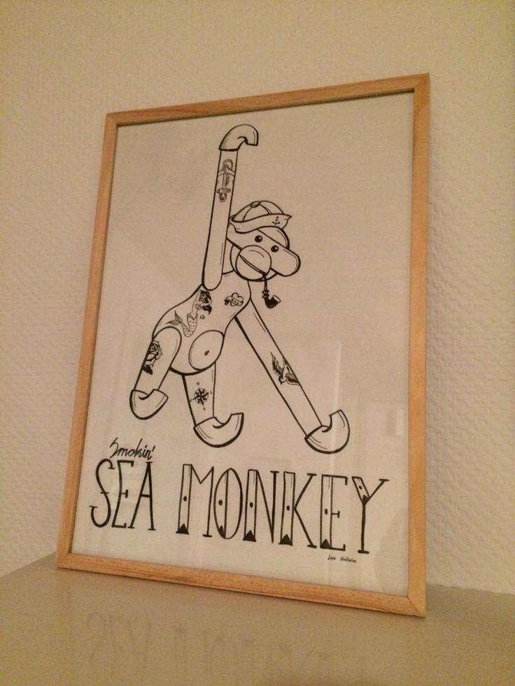 Illustration - Monkey. Ink drawing on paper
