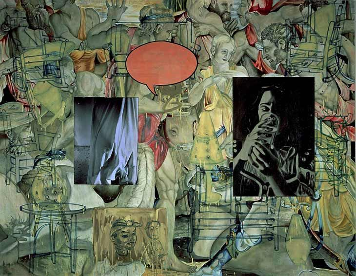 David Salle Mingus in Mexico 1990 Acrylic and oil on canvas 244 x 312 cm David Salle has taken the device of pastiche, which is central to modern art, and made it both the form and content of his work.