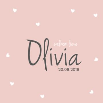 Geboortekaartje #hartjes #roze #meisje #trendy