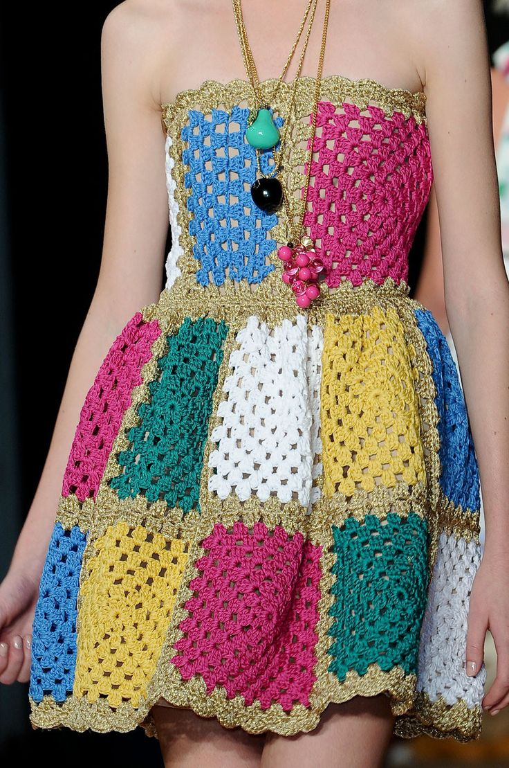 Isn't this darling, crochet granny square chic dress.