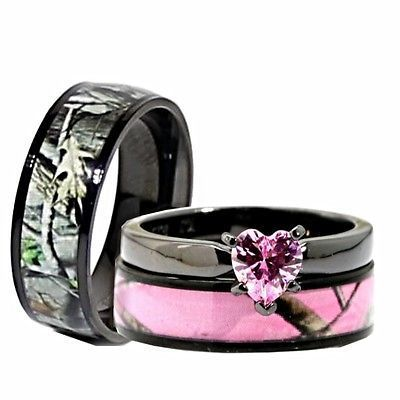 His, Her Black Pink Titanium Camo Heart Sterling Silver Engagement Wedding Rings